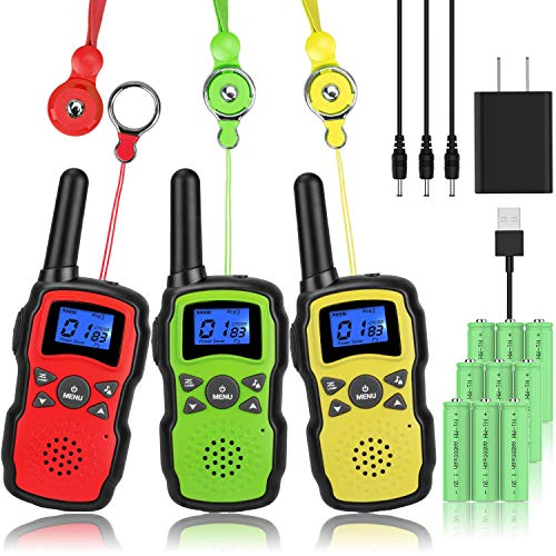 Wishouse Kids Walkie Talkies Rechargeable Long Range 3 Pack, Girls Boys Toys Age 7 8 9 10 11 12 for Outdoor Camping Adventure Games with Flashlight, Birthday Xmas Gift for 4 5 6 Year Old Children