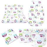 Callyna ® - Set lettino da neonato, 5 pezzi: paracolpi 360 cm, traspirante, sacco nanna, 6-18 mesi, lenzuolo con angoli, copripiumino, federa 100% Made in EU, gufo fucsia
