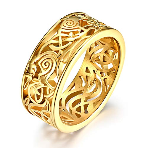 Fandao A Pair of Stainless Steel Viking Couple Rings, Norse Ireland Celtic Wolf Knot Ring, Wedding Ring, Scandinavia Jewelry Bracelet Gift Set,Gold,12