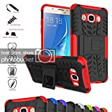Galaxy J5 2016 Case,Mama Mouth Shockproof Heavy Duty Combo Hybrid Rugged Dual Layer Grip Cover with Kickstand for Samsung Galaxy J5 J510 2016 Smartphone(with 4 in 1 Packaged),Red