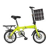 JieDianKeJi Bicicletas Plegables Bicicletas Plegables de 14/16/20 Pulgadas, portátiles, Ligeras, para Viajes en la Ciudad, Ejercicio para Adultos, Hombres, Mujeres, niños, niños, Velocidad Variable