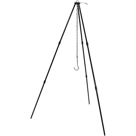 GoodsLand トライポッド 焚き火三脚 ブラック 黒 コンパクト スタンド アウトドア ソロ キャンプ 用品 GD-TRIPOD