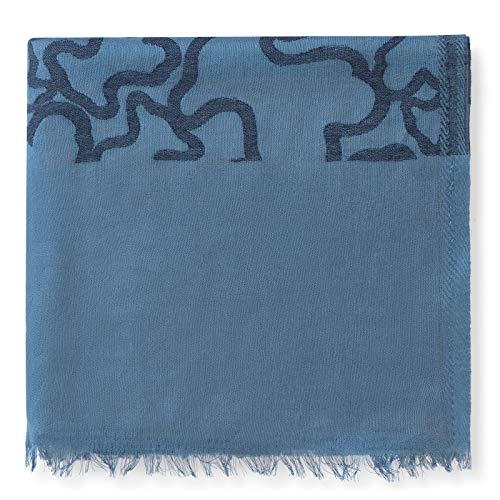 Tous Aradia Jacquard Schal in Blau. Rechteckige Form mit ausgefranstem Rand. Maße: 190 x 100 cm.