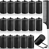 18 Pieces Satin Foam Rollers Hair Sponge Rollers Black Perm Rods Heatless Wave Curlers with Rat Tail Comb for Hairdressing Styling (1.42 Inch)