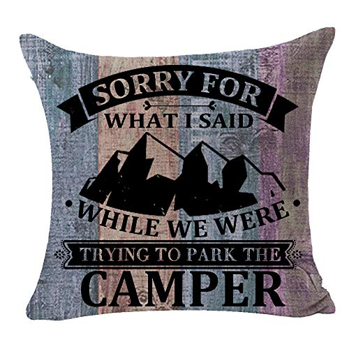 FELENIW Wood Grain Sorry for What I Said While We were Trying to Park The Camper Fun Quote Best Gift for Camping Travel Throw Pillow Cover Cushion Case Cotton Linen Decorative 18 Square