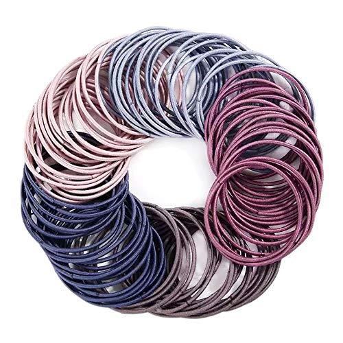 100 Pieces 2mm Elastic Hair Ties, Multicolor Elastic Hair Bands Ponytail Holders No Metal Gentle Elastics for Women Girls Kids Men