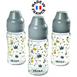 BÉABA Set 3 Biberons Verre Col Large 240 mL - Yellow/Grey Crown