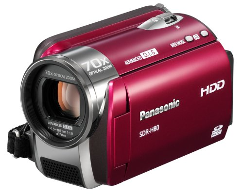 Panasonic SDR-H80 EG9-R SD/HDD Camcorder (SD/SDHC-Card, 60GB Festplatte, 70-fach opt. Zoom, 6,9 cm (2,7 Zoll) Display) rot
