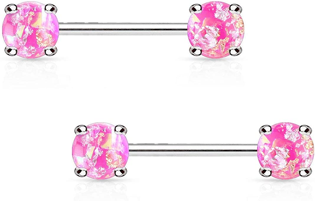 Forbidden Body Jewelry Pair of Surgical Steel 9/16 Inch (14mm) Glittery Faux Opal Stone Sexy Nipple Barbells