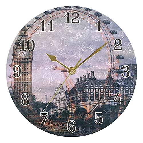 KKAYHA London Eye - Reloj de pared (25 cm, funciona con pilas, silencioso), diseño de ojo de Londres