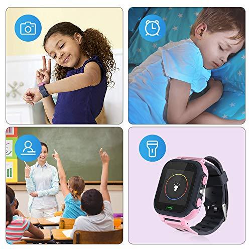 Openuye Kinder Smartwatch, Smartphone mit LBS-Standort, SOS, 1,44-Zoll-LED-Touchscreen-Uhr mit Digitalkamera, SIM-Anrufe, Wecker für Jungen und Mädchen, kompatibel mit iOS und Android (Rosa)