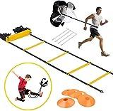 Escaleras de coordinación para fútbol, juego de entrenamiento de velocidad y agility, escalera de entrenamiento, escalera y cono de agilidad premium, paracaídas