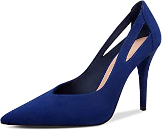 Spring and Autumn New European and American Leather Women's Shoes Stiletto Pointed High Heels Hollow Single Shoes Blue (Color : Blue, Size : 37)