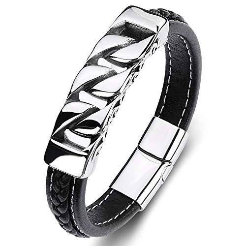 Punk armband van titanium staal voor dames en heren, zwarte ketting zilver decoratie stof A hand creatief eenvoudig unieke retro-ketting met ketting en polsband 20CM