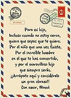 フリースブランケットキルト スペイン語で 息子/娘に 文字を印刷しました 暖まる ベッドスロー 癒しの考え 誕生日おめでとうギフト,To son,150*220cm