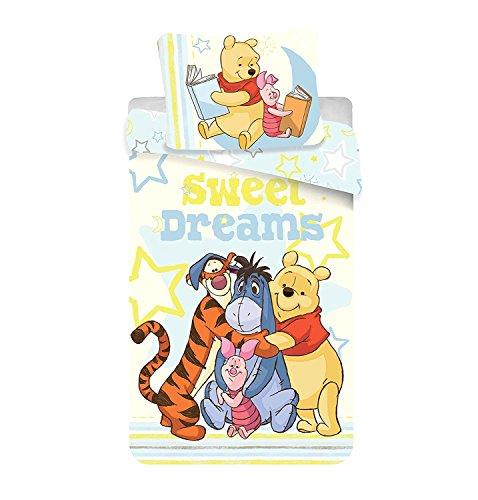 Jerry Fabrics 226094 Winnie-The-Pooh Children's Bedding Comforter Set including Duvet Cover and Pillow Case, Multi-Colour - 140x200cm + 70x90cm