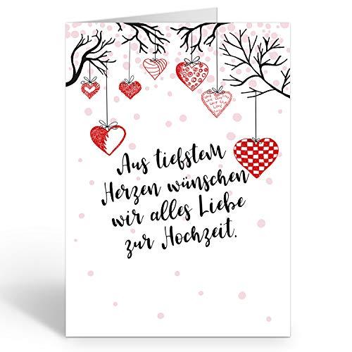 Große Glückwunschkarte zur Hochzeit XXL (A4) Hängende Herzen mit Text/mit Umschlag/Edle Design Klappkarte/Hochzeitskarte/Glückwunsch/Ehepaar/Extra Groß/Vintage Romantisch/Edle Maxi Gruß-Karte