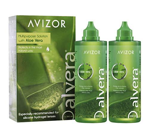 Kontaktlinsenflüssigkeit AVIZOR Alvera 2 × 350 ml im Etui. Lösung zur Reinigung und Desinfektion aller Arten von weichen Kontaktlinsen.