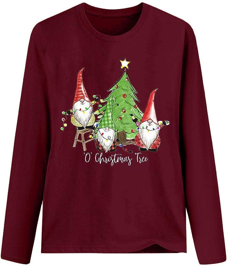 Tops Christmas Hours 2020 Womens Tops 2020 Christmas Fashion Print O Neck Long Sleeve Shirts