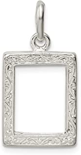 925 Sterling Silver Picture Frame Pendant Charm Necklace Photo Fine Jewelry Gifts For Women For Her