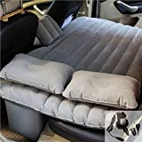 goldhik Car Travel Inflatable Mattress Flocking Air Bed Cushion Camping Universal SUV Back Seat Extended Air Couch with Two Air Pillows (Black)