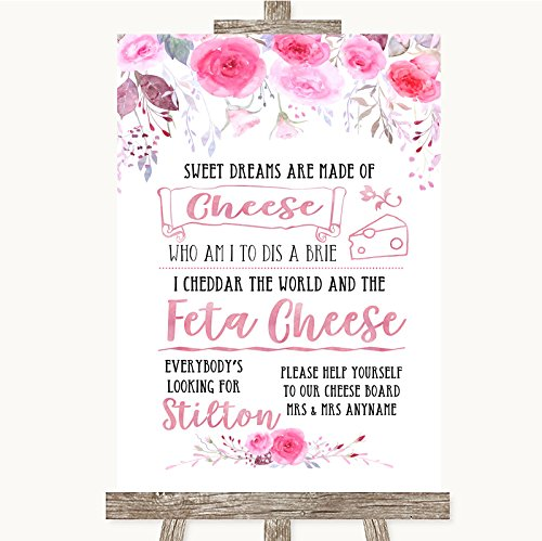 Bruidsbord Poster Print Roze aquarel Bloemen Cheeseboard Kaas Song kan volledig worden aangepast elke tekst of kleur - Perfect Venue Decoratie (A3) Large