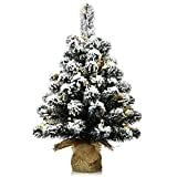 Goplus 2ft Snow Flocked Tabletop Christmas Tree, Battery Operated/with Built-in Timer and LED Lights, Xmas Decor for Indoor and Outdoor
