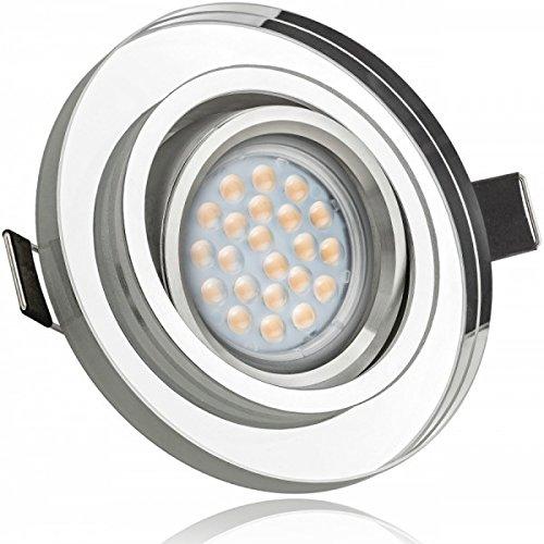 LED Einbaustrahler Set Weiß Kristall / Glas mit LED GU5.3 / MR16 Markenstrahler von LEDANDO - 5W - warmweiss - 60° Abstrahlwinkel - schwenkbar - 35W Ersatz - A+ - LED Spot 5 Watt - Einbauleuchte LED rund