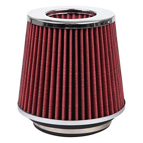 Cartman Universal Clamp-On Engine Air Filter: Washable: Round Tapered; 3 in/3.5 in/4 in (76 mm/89 mm/101 mm) Flange ID; 5.1 in (130 mm) Height; 6.1 in (155 mm) Base; 4.73 in (120 mm) Top, Red