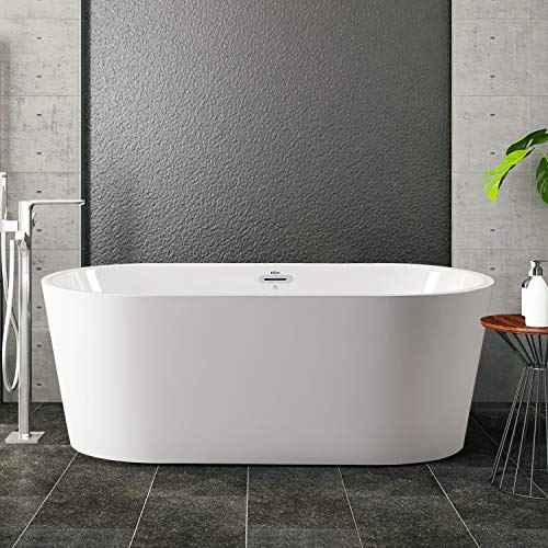 FerdY 59'' Acrylic Freestanding bathtub, White Modern Stand Alone bathtub Soaking Bathtub, Easy to Install, cUPC Certified, Drain & Overflow Assembly Included
