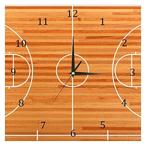 BestIdeas Reloj de pared de cuarzo silencioso para cancha de baloncesto, no hace tictac, funciona con pilas, decoración para el hogar, dormitorio, sala de estar, cocina, oficina