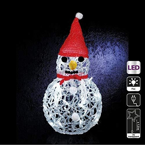 WeRChristmas Bonhomme de Neige Lanterne D/écoration de No/ël Verre 10/cm/ /Blanc