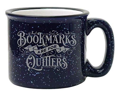 Bad Bananas - Gifts for Librarians, Book Lovers, Writers - Bookmarks Are For Quitters Mug - 15 oz Funny Enamel Bookish Coffee/Tea Mug