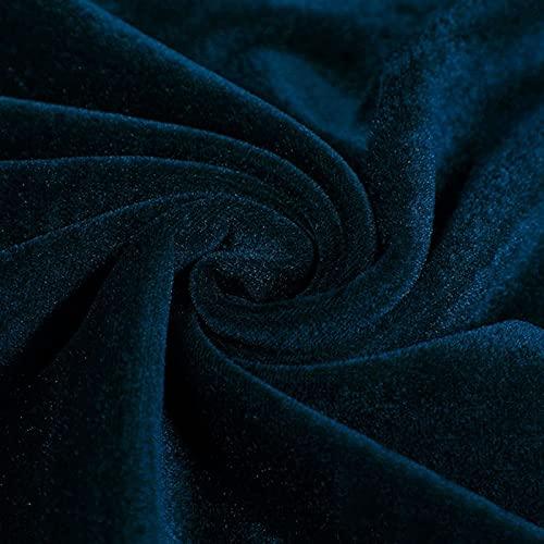 Tela Terciopelo para Cajones De Joyería Y Manualidades Tela De Tapicería Suave Tejido Mezclado De Color Liso para Ropa Manteles Decoración del Hogar 165cm (Size:165x100cm/64.9x39in,Color:Armada)