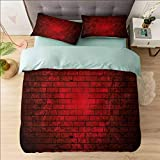 Aishare Store - Juego de funda de edredón suave para cama king size, color granate y ladrillo, funda de edredón de microfibra ligera con 2 fundas de almohada de calidad hotelera