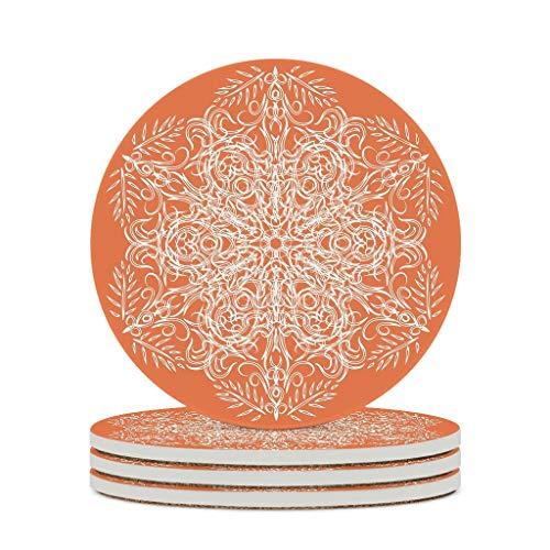 Tentenentent Posavasos de cerámica naranja duradera de cerámica personalizada para vasos de cerámica único – Estilo indio para exterior blanco 4 unidades