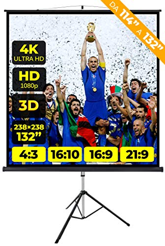 Provis Schermo Proiezione Treppiede (132 Pollici) 250Cm Multi Formato 4.3 16.9 16.10 238X238 2 Metri e Mezzo Leggero Schermo Proiettore 2Mt Telo Proiettore Schermo Bordi Videoproiezione 2 Mt 4K Hd 3D