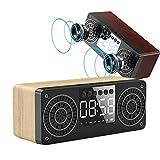 DGHJK Bluetooth-Lautsprecher, digitaler Holzwecker, kabelloses Stereo-Pairing...