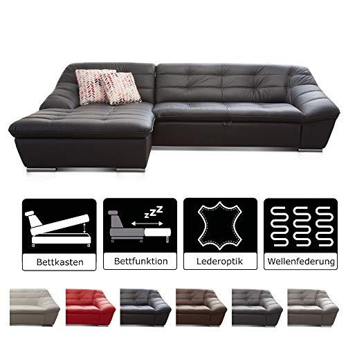 Cavadore Ecksofa Lucas / Kunstleder-Couch mit Steppung und Schlaffunktion / Inkl. Bett und Bettkasten / Longchair links / 287 x 81 x 165 (BxHxT) / Kunstleder schwarz