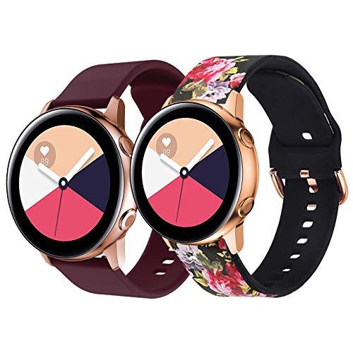YPSNH Compatible para Samsung Galaxy Active Correa Suave Silicona Reemplazo Active 2 Pulseras de Repuesto 20mm Banda Compatible con Galaxy Watch 3 41mm/Galaxy Watch 42mm/Gear Sport/Vivoactive 3
