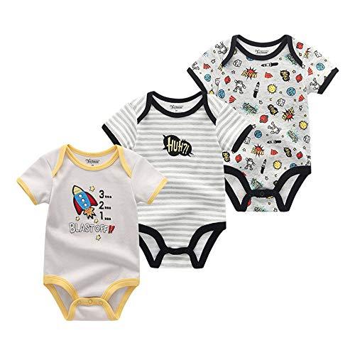 wxr ベビー服 半袖 女の子 男の子 赤ちゃん服 パジャマ ボディスーツ 新生児服 0-12月 夏 ロケット灰 9M