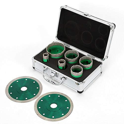 Futchoy Juego de 6 brocas de núcleo de diamante de 20/25/40/45/50/68 mm con 2 discos de corte de diamante y maletín para granito y azulejos M14 brocas de diamante en seco