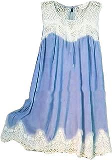FSSE Women's Loose Sleeveless Lace Stitch Sundresses Plus Size Shirt Dress