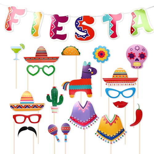 21 Pcs Mexican Theme Fiesta Party Decoration Set, 1 Pcs Fiesta Banner, 20 Pcs Photo Booth Prop, Mexican Birthday Baby…