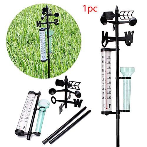 Egosy Wetterstation Regenmesser Windrichtungsmesser Regenmesser und Thermometer Analog Windrichtung Außen Garten Temperatur Regenmenge