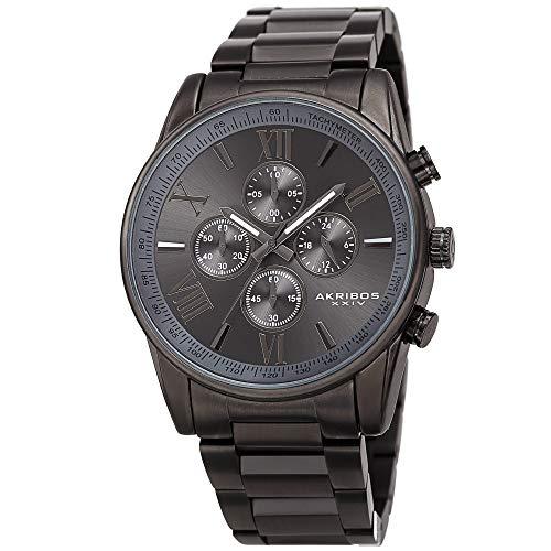 Akribos XXIV Men's Multifunction Watch - 3 Subdials Round Black Dial Chronograph Quartz Watch On a Mesh Bracelet - AK625