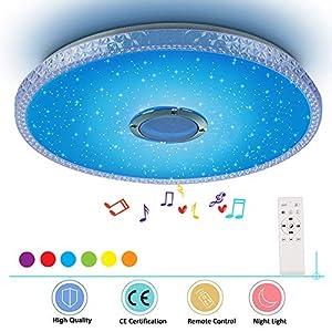 HOREVO Lámpara de Techo Musical 24W RGB Plafon con Altavoz Bluetooth y Control Remoto, Ø38cm 2000 lúmenes, Luz ajustable para la habitación de los niños sala de estar (Certificación CE)