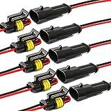 YETOR Conector de Cable Enchufe Impermeable,Conector Macho de 2 Pines Conectores eléctricos con Cable 16 AWG Marine para Conexiones de automóviles, Camiones, Barcos y Otros Cables. (5pack)
