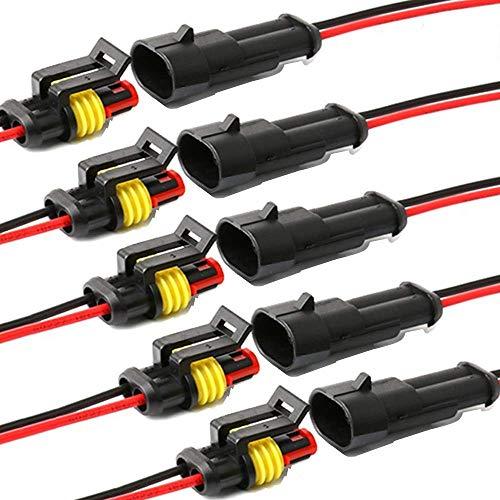 YETOR Way Auto Wasserdichter elektrischer Steckverbinder, 2 pin Stecker Autoelektrischer Kabelverbinder mit Kabel 16 AWG Marine für Auto, LKW, Boots- und andere Kabelverbindungen. (5 Pack)