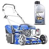 Hyundai HYM430SPR Self Propelled 17' 43cm 430mm 139cc Petrol Roller Lawn Mower-Includes 600ml Engine Oil, Blue